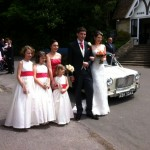 Classic mini limousine hired for Claire's wedding