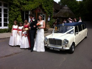 Classic mini limousine hired for Claire's wedding 4