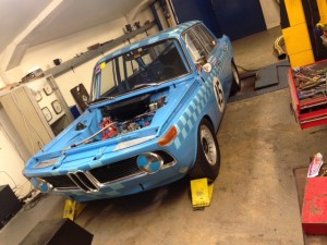 Patterson Bartley BMW 1800ti race car rolling road