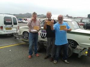 David Moran, Stuart Bancroft, Richard Ford CSCC Swinging 60s Brands Hatch