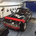 FIA Triumph TR4 rolling road race car preparation Oulton Park Gold Cup