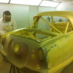 Ian Goodwright spraying primer