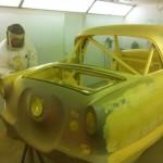 Ian Goodwright spraying primer