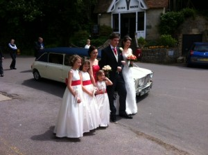 Classic mini limousine hired for Claire's wedding 2