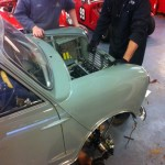 mk1 mini body over front subframe and engine