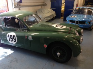 Mira Gomez Jaguar XK140 race car Donington 2