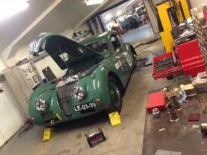Mira-Gomes Jaguar XK140 rolling road RAC Woodcote Trophy