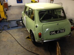 Fiesta Yellow Mk1 Mini Cooper S rolling road 2