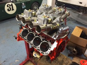 327 Chevy cross ram Weber race engine build 2