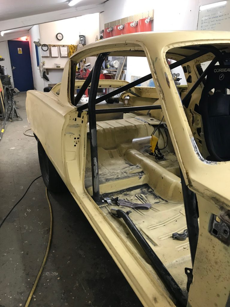 Plymouth Barracuda race car roll cage fabrication