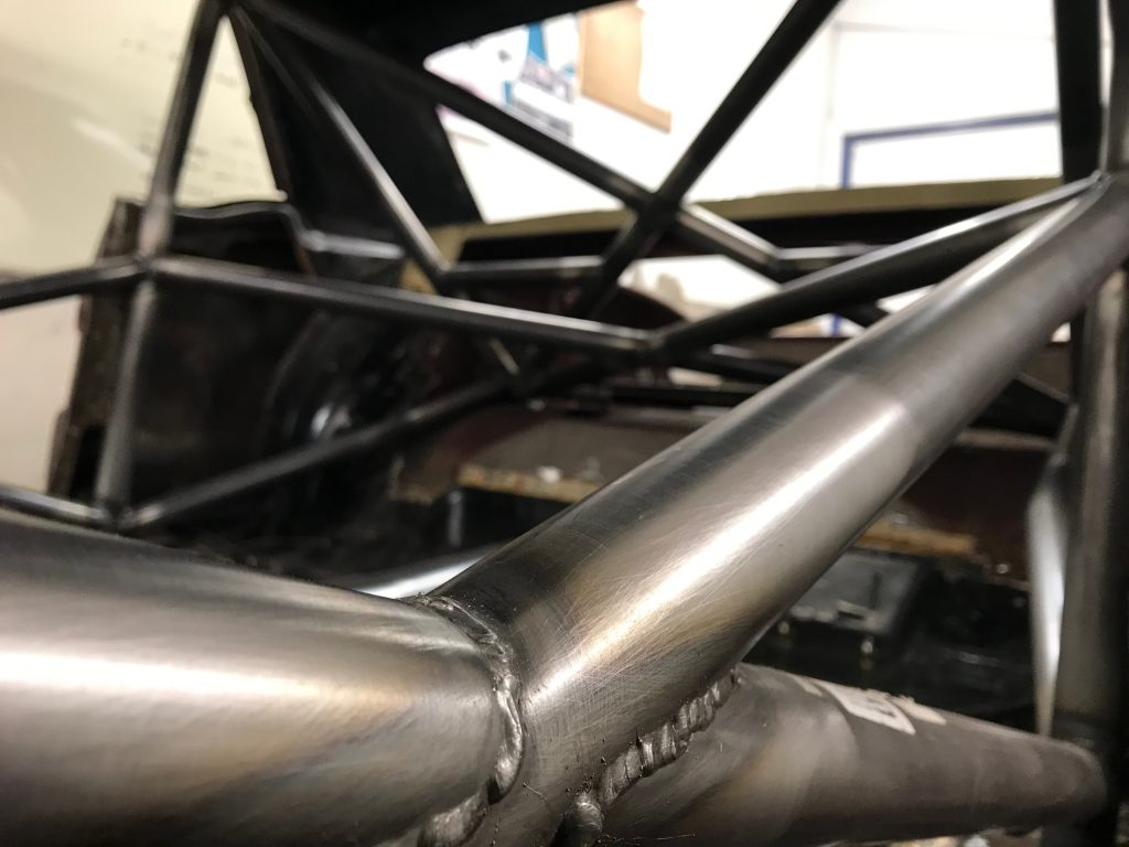 Custom Cages T45 Mustang Historic roll cage installation