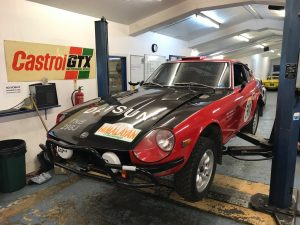 Datsun 240Z historic endurance rally car preparation