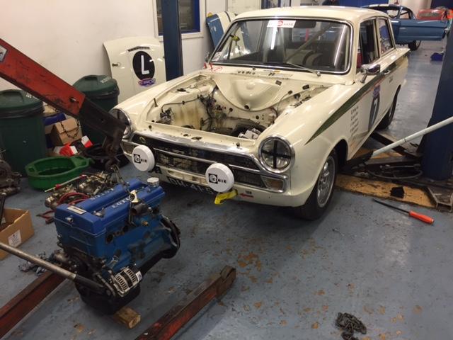 CCK Historic   Moran Lotus Cortina engine out for winter rebuild