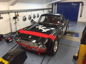 FIA Triumph TR4 rolling road race car preparation Oulton Park Gold Cup