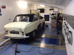 Peter Blanchett Austin A50 race car rolling road tuning 2